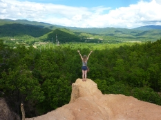 Harriet being braver than I on the ledge of Pai Canyon