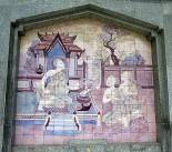 Beautiful tiling on the outside of the Queen's Chedis